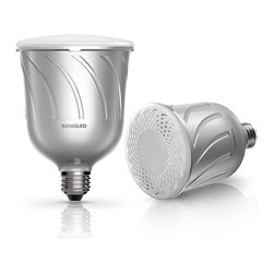 Sengled+ - Pulse by Sengled. Integrated LED Light BlueTooth Speakers, Powered by JBL., Pewt - Pulse by Sengled is an integrated LED BR30 down/can/track-light with wireless JBL audio speakers.  Simply install the Pulse like any other light bulb, wirelessly connect the Pulse from any Bluetooth-enabled phone, tablet, or PC, and immediately enjoy your favorite media apps in your kitchen, living room, patio, or wherever there is a light socket.  For even greater control and enjoyment, download our iOS or Android mobile app to control light/sound intensity, audio equalizer modes, and launch your favorite media apps (e.g. Pandora, Spotify, TuneIn Radio, etc) directly from the Pulse mobile app.
