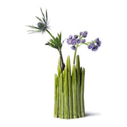 Small Shoots Vase - Nothing says spring quite like the first green shoots of grass. Enjoy them all year long with this sweet stoneware vase in bright, grassy green. Your favorite flowers will look right at home standing above its leafy edges.
