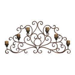 Uttermost - Juliana Metal Wall Art Sconce - A decorative wall sconce will make a stunning statement in your living room, dining room or bedroom. The hand-forged metal design is a beautiful backdrop for six rustic candles. Light them on a special occasion or for everyday ambience in your home.