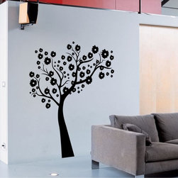 StickONmania - Tree Small Flowers Sticker - A cool vinyl decal wall art decoration for your home  Decorate your home with original vinyl decals made to order in our shop located in the USA. We only use the best equipment and materials to guarantee the everlasting quality of each vinyl sticker. Our original wall art design stickers are easy to apply on most flat surfaces, including slightly textured walls, windows, mirrors, or any smooth surface. Some wall decals may come in multiple pieces due to the size of the design, different sizes of most of our vinyl stickers are available, please message us for a quote. Interior wall decor stickers come with a MATTE finish that is easier to remove from painted surfaces but Exterior stickers for cars,  bathrooms and refrigerators come with a stickier GLOSSY finish that can also be used for exterior purposes. We DO NOT recommend using glossy finish stickers on walls. All of our Vinyl wall decals are removable but not re-positionable, simply peel and stick, no glue or chemicals needed. Our decals always come with instructions and if you order from Houzz we will always add a small thank you gift.