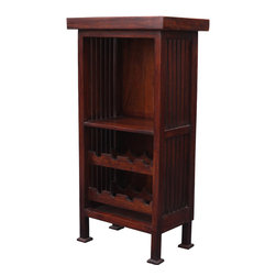 Mission Indian Rosewood Wine Rack Cabinet Mini Bar - Our small wine cabinet is a perfect fit for modern entertaining. The handmade solid hardwood is built with two wine racks, a larger open shelf and a cabinet top-perfect for serving. The bottle rack can hold up to 8 bottles.