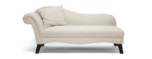 Wholesale Interiors - Phoebe Beige Linen Modern Chaise Lounge - Beige linen upholstery