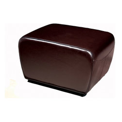 Wholesale Interiors - Dark Brown Full Leather Ottoman with Rounded Sides - This ottoman is a versatile piece useful in any room of your home. This elegant ottoman provides styles which allows you to match your existing leather sofa set. Frame built to last with sturdy construction consisting of kiln dried hardwood frame, with high density foam padding. Durable polyurethane coated leather upholstery for longer lasting use and stain resists for easy clean up. Contemporary clean line design with tapered down base. Leg constructed with solid rubber wood with veneer finish completes with elegant smooth, clean lines design. This Ottoman offers up the perfect way to sit back and relax. The perfect combination of quality craftsmanship with simple and sophisticated designs, that will instantly enhance any room decor.