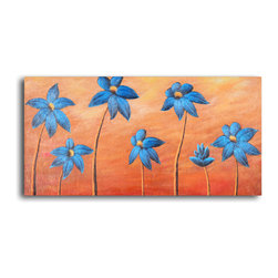 """My Art Outlet - Hand Painted """"Dancing blue daisies"""" Oil Painting - Size: 16"""" x 32"""" (16"""" x 32""""). Enjoy a 100% Hand Painted Wall Art made with oil paints on canvas stretched over a 1"""" thick wooden frame. The painting is gallery wrapped and ready to hang out of the box. A very stylish addition to any room that is sure to get the attention of guests."""