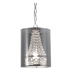 ZUO PURE - Byrion Ceiling Lamp Translucent - Glamour and elegance is all bundled into one smashing ceiling lamp. The Byrion ceiling lamp boasts strung crystals shielded by a metallic shade. The base is chrome. The lamp is UL approved.