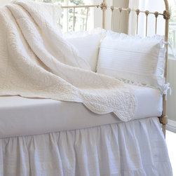 Taylor Linens - Elizabeth Crib Bed Skirt - There's nothing so fresh and innocent as snow-white eyelet lace. This sweet and simple crib bedskirt is delicately styled with a few subtle pintucks and a single bottom eyelet ruffle to give you that nostalgic, vintage look. Don't worry, it's also machine washable.
