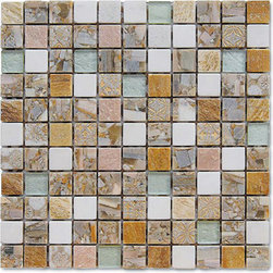 Sand Dome Stone And Glass Tile Mosaic Backsplash, Box - Sold by the box 11 sheets = 11 sq/ft per box