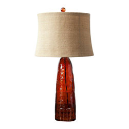 Surya - Red Amber Recycled Glass Lamp with Burlap Shade - Create a noteworthy natural coastal look for your space with this exquisite lamp! Featuring a dark red amber recycled glass base, with a natural modified-drum 16 x 16 x 11 burlap shade, this piece will effortlessly envelop your space in timeless charm.