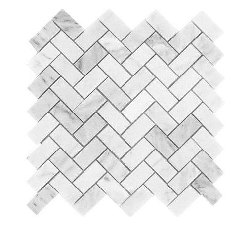 "Tiles R Us - Carrara White Marble Honed Herringbone Mosaic Tile, 1 Sq. Ft. - - Italian Carrara White Marble Honed 1"" X 2"" Herringbone Mosaic Tile."
