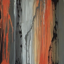 """Sunset Through the Trees - """"Sunset Through the Trees"""" is an original acrylic on canvas painting painted by local artist Ruth Stubenrouch.  The painting features orange, black, and grey accented with white. Can be hung vertically or horizontally."""