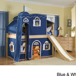 "None - Bennington Low Loft Twin Bed with Castle Tower/ Top Tent/ Bottom Playhouse Curta - Make your child the king of his castle!  From a secret hideaway in the bottom play area (34""h) to surveying his kingdom from the top tent window; your child will love sliding out to his next adventure for years with high-quality Bolton Furniture."