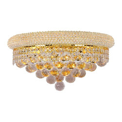 Worldwide Lighting - Empire 3-Light Gold Finish Crystal Wall Sconce - This stunning 3-light wall sconce only uses the best quality material and workmanship ensuring a beautiful heirloom quality piece. Featuring a radiant gold finish and finely cut premium grade crystals with a lead content of 30%, this elegant wall sconce will give any room sparkle and glamour.