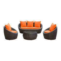 LexMod - Avo Outdoor Wicker Patio 4 Piece Sofa Set in Brown with Orange Cushions - Lounge confidently and transform casual expeditions into life-changing accomplishments with this modern outdoor set. Entertain guests from far and near as you jump-start gatherings and transcend starting points of engagement. Absorb true relaxation and merge with the moment into a private seating occasion to remember.