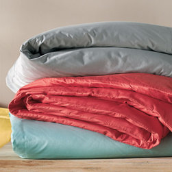 """Grandin Road - Supima Duvet Cover - Supima cotton sheet sets, pillowcases, duvets, and shams. Sheet sets include flat, fitted, and two pillowcases (twin includes one). Woven from 100% supima cotton. 500 thread count weave. Fitted sheet features a 15""""-deep pocket. Pamper yourself with the exquisite softness and indulgent comfort of our signature Supima 500 Thread Count Bedding. Woven from the finest-quality American cotton, featuring ultra fine fibers that create an incredibly luxurious sleeping experience. Simple, tonal, track-line embroidery in your choice of color.  .  .  .  .  . Machine washable; see details on care label . Monogramming available . Made in USA and imported."""