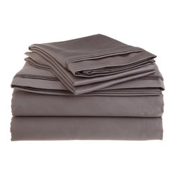1500 Thread Count California King Sheet Set Egyptian Cotton Solid - Gray - 1500 Thread Count oversized California King Grey Solid Sheet Set 100% Egyptian Cotton