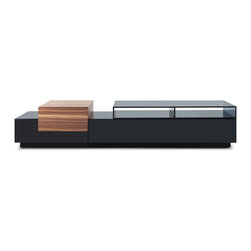 JNM Furniture - TV072 Modern Tv Stand in Black Lacquer and Light Walnut Finish - Modern Style Tv Stand