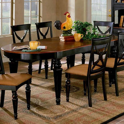"""Hillsdale Furniture - Northern Lights Oval Table - Classically styled, this Scandinavian inspired table is well suited to entertaining and to decorating a large traditional dining room. The oval table includes two leaves, enabling it to handle large groups for holiday meals and more. The legs and table base are a rubbed black and honey finish, while the top is a durable natural wood tone. * For residential use. Classically styled, this Scandinavian inspired table is well suited to entertaining and to decorating a large traditional dining room.. The oval table includes two leaves, enabling it to handle large groups for holiday meals and more.. The legs and table base are a rubbed black and honey finish, while the top is a durable natural wood tone.. Black base with cherry top finish. 2 14 in. Leaves. 42 x 92. Table without leaves: 42"""" x 64"""""""