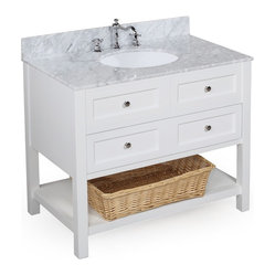 Kitchen Bath Collection - New Yorker 36-in Bath Vanity (Carrera/White) - This bathroom vanity set by Kitchen Bath Collection includes a white cabinet with soft-close drawer, Italian Carrera marble countertop, undermount ceramic sink, pop-up drain, and P-trap. Order now and we will include the pictured three-hole faucet and a matching backsplash as a free gift! All vanities come fully assembled by the manufacturer, with countertop & sink pre-installed.