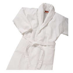 Gilden Tree - Waffle Weave Shawl Collar Robe - White - Lounge in luxury with our new spa-quality waffle weave robe. Waffle weave is soft and warm without being heavy, and it dries quickly, making it naturally eco-friendly!