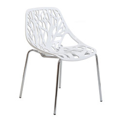 Modway Furniture - Modway Stencil Dining Side Chair in White - Dining Side Chair in White belongs to Stencil Collection by Modway Find your inner catalyst with this activating dining chair. Watch as a tree is carefully depicted in Stencil's telling journey between enigmatic forests and song-filled remembrances. Let sunlight filter through and nurture experiences of enduring light. Set Includes: One - Stencil Chair Side Chair (1)
