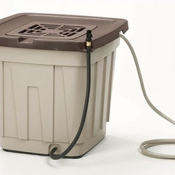 """Suncast - 50 Gallon Rain Barrel - Features: -For holding and catching 100% pure rain water.-Shut off valve for hose hook-up.-Overflow hose doubles as connector hose.-Debris filter keeps leaves and yard waste out of water.-Linkable to one additional barrel for increased capacity.-Latched lid is child and pet proof.-Capacity: 50 Gallon.-Includes drain hose for water usage and shut off valve for hose hook-up.-Durable resin construction.-Color: Light Taupe with Mocha accents.-Distressed: No.-Country of Manufacture: United States.-Product Type: Rain Barrel.-Color: light taupe with mocha lid.-Powder Coated Finish: No.-Gloss Finish: No.-Material: plastic.-Number of Items Included: 11.-Non-Toxic: Yes.-Odor Resistant: No.-Stain Resistant: Yes.-Warp Resistant: Yes.-Mildew Resistant: Yes.-Algae Resistant: No.-Insect Resistant: No.-Rodent-Proof: Yes.-UV Resistant: Yes.-Fade Resistant: Yes.-Child Safe: Yes.-Pet Safe: Yes.-Dishwasher Safe: No.-Rain Barrel Capacity: 50.-Linkable: Yes -Number of Barrels Able to Link: 2.-Unlimited Links: No..-Spigot Included: No.-Worm Farm: No.-Year-Round Use: No.-Temperature Range: Above freezing.-Indoor or Outdoor Use: Outdoor only.-Foldable: No.-Hose Included: Yes -Number of Hoses: 2..-Debris Screen Included: Yes -Removable Debris Screen: Yes..-Planter Included: No.-Wall Mounted: No.-Latching Lid: Yes.-Number of Access Doors: 1.-Vents: Yes.-Drainage: Yes.-Dual Overflow: No.-Flat Back: Yes.-Wheels: No.-Weight Capacity: 450.-Swatch Available: No.-Recycled Content: No.-Eco-Friendly: No.Specifications: -EPP Compliant: No.-General Conformity Certified: No.-Green Guard Certified: No.-BPA Free: No.Dimensions: -Dimensions: 26.1'' H x 29.2'' W x 28.6'' D.-Weight: 25 lbs.-drain hose is 96"""", overflow /connector hose is 36"""".-Overall Product Weight: 20.-Overall Height - Top to Bottom: 26.-Overall Width - Side to Side: 29.-Overall Depth - Front to Back: 29.Assembly: -Assembly Required: Yes.-Tools Needed: screwdriver, hacksaw, gloves, plywood board, tape measur"""