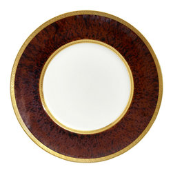 Jaune De Chrome - Tortoise Gold Incrustation Porcelain Dinner Plate - This plate is beautifully textured with deep reds and browns. The rich color will add warmth to your classic, elegant presentation.