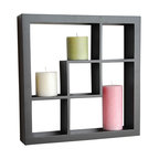 "Welland - Welland Madison Display Cube Shelf Wall Floating Shelving, Black - These elegant display cubes are a perfect solution for all your decor needs! This cube display shelf will provide an easy way to update any wall, whether in a traditional or contemporary setting. A cool and contemporary way to show off souvenirs, small treasures or art, this wall cube creates a dynamic arrangement in a living or dining room. 5 display compartments (Size: 16""W x 16""H x 3""D)"