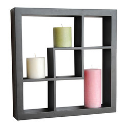 """Welland - Welland Madison Display Cube Shelf Wall Floating Shelving, Black - These elegant display cubes are a perfect solution for all your decor needs! This cube display shelf will provide an easy way to update any wall, whether in a traditional or contemporary setting. A cool and contemporary way to show off souvenirs, small treasures or art, this wall cube creates a dynamic arrangement in a living or dining room. 5 display compartments (Size: 16""""W x 16""""H x 3""""D)"""