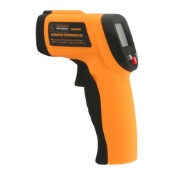 Buffalo Tools - Pro-Series Non-Contact Infrared Thermometer - Non-Contact Infrared Thermometer by Pro-Series Get accurate temperature readings without touching the object when using the Pro-Series Infrared Thermometer. This device is great for measuring the temperature of hot water pipes, cooking surfaces, electrical connections, electric motors and bearings, or heating and air conditioning vents. The Pro-Series Infrared Thermometer couldn't be easier to use. Just point it at the object, press the trigger, and the temperature appears on the screen almost instantly. The blue backlit LCD Display automatically holds the temperature reading when the trigger is released.