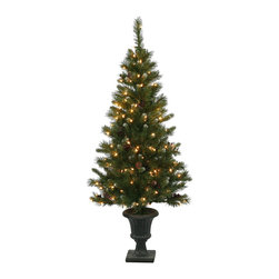 """Vickerman - 5' x 27"""" Ashberry Potted Tree 150CL 319T - 5' x 27"""" Ashberry Potted Tree cones, Berries, 319 PVC Tips, And 150 Clear Mini Lights"""
