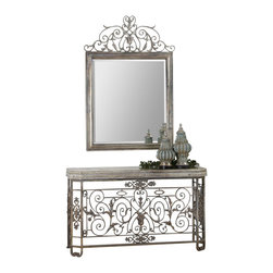"Uttermost - Uttermost Kissara Metal Mirror - Kissara Metal Mirror by Uttermost Hand Forged Metal Frame With An Open Design Of Curled Flourishes And Leaf Details Finished In Warm, Tarnished Silver. Mirror Features A Generous 1 1/4"" Bevel. Matching Console Table Is Item #24347."