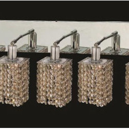 Elegant Lighting - Mini Square Chrome Five-Light Bath Fixture with Royal Cut Golden Teak Smoky Crys - Royal Cut crystal is a combination of high quality lead free machine cut and machine polished crystals and full-lead machined-cut crystals to meet a desirable showmanship of an authentic crystal light fixture.  -Recommended to be professionally hung and supported independently of the outlet box. Consult an electrician for guidance to determine the correct hanging procedure.  -Crystals may ship separately and some assembly is required.  -Depending on the size & design the assembly can be time consuming, but is well worth the effort. Elegant Lighting - 1285W-O-S-GT/RC