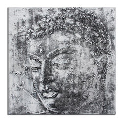 Safavieh - Buddha Black And White Painting ART2008A - Serenity is only a glance away with this black and white Buddha painted on canvas on wood. Each detail is highlighted with rich, two-dimentional brushstrokes that create a deeply luxurious visual experience.