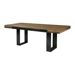 Graham Industrial Dining Table - A beautiful collection of sustainable furniture that is hand-crafted from exotic demolition hardwoods such as salvaged wood from downed telephone poles and  from 100-year-old flooring as well as white oak and black walnut. Dining table handcrafted in the USA with natural wax finish.