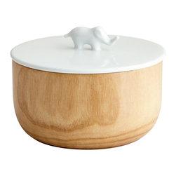 Cyan Design - Cyan Design 06474 Oak Elephant Container - Cyan Design 06474 Oak Elephant Container