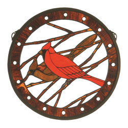 Meyda Tiffany - Meyda Tiffany Cardinal Medallion Tiffany Window X-21617 - A cardinal and his mate are effortlessly perched in the center of this Medya Tiffany medallion Tiffany window. Featuring vivid shades of red that are complimented by the brown branches and trim detailing, this delightful design will add charm and whimsy to your traditional wall art collection.