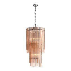 Cyan Design - Cyan Design Swizzle 9-Light Modern / Contemporary Chandelier X-02750 - From the Swizzle Collection, this modern Cyan Design chandelier is a timeless look thanks to its simple cylindrical shape and layered glass features. This contemporary chandelier features rows of blush colored glass slats, with two tiers of candelabra lights and a clean Chrome finish to complete the look.