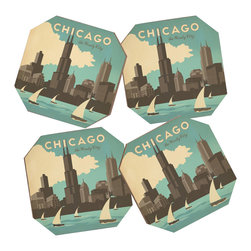 DENY Designs - Anderson Design Group Chicago Coaster Set, 4 Coasters - Say goodbye to water rings on your furniture and hello to the stylish solution: DENY Designs Coaster Set. Available in a set of four, you can also opt for the coaster tray to house the set or go the a la carte route. Either way, your glasses are going to get a fun drinking companion! Custom made in the USA for every order.