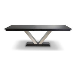 Woodcraft - Manhattan Table - Talk about sleek, talk about sexy! This ultramodern table will not only add glamour to your dining room, it'll add ultimate function. The cantilevered, brushed nickel base allows for plenty of legroom for your guests. The rich hardwood top awaits all your favorite dishes and as many as your best pals who can squeeze around it. (Given its generous sizing options, that's quite a few!)