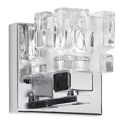 Dainolite - Dainolite V1232-1W-PC 1 Light Sconce Pc Finish Clear Frosted Glass - Dainolite V1232-1W-PC 1 Light Sconce PC Finish Clear Frosted Glass