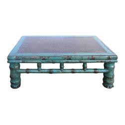 "Golden Lotus - Rustic Blue Lacquer Rattan Top Rectangular Low Table - Dimensions:  w31"" x d19""x  h11"""