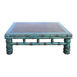 "Golden Lotus - Rustic Blue Lacquer Rattan Top Rectangular Low Table - Dimensions:  w31"" x d19""x  h11"""