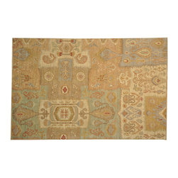 1800GetARug.com - Multicolored Ikat 6'x9' Uzbek Design 100% Wool Hand Knotted Oriental Rug Sh16340 - Multicolored Ikat 6'x9' Uzbek Design 100% Wool Hand Knotted Oriental Rug Sh16340