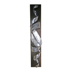 Tornado - Modern Abstract Metal Decor Wall Art Sculpture, Brushed Metal - This is an original hand crafted and hand painted sculpture made from high quality metal with a wooden base. It is perfect for displaying anywhere in your home or business and can be flipped horizontally or vertically - ready to hang. It is a great way to fill your space with a modern masterpiece. The sculpture changes shape with every angle that it is viewed from.