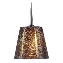 """Bruck Lighting - Bling I LED Pendant Light w Black Textured Glass (Chrome No Canopy) - Finish: Chrome No Canopy. Pictured in Matte Chrome. Glass Color: Black Textured Glass. Mounting: No Canopy. Energy efficient . 12V AC/DC Input * 700mA DC constant current output. 6A, 5W for 1 (3 Watt LED) Included * 3000K / 68 Ipw. Suitable for dry location only. Compatible with selected Bruck electronic transformers and must meet the minimum VA. Overall Dimensions: 4.3"""" H x 4.8"""" DiaThe Bling I 3 Watt LED Pendant with wire mesh accents. Uni-plug design allows Sierra 3 Watt LED pendant to be mounted on any lighting system through the use of an appropriate adaptor, not included. Standard cable length of 59""""."""