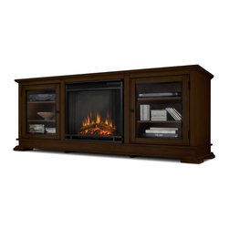 Real Flame - Hudson Electric Fireplace in Espresso - Fits up to a 50 in. (diagonal) TV, 100 lb. weight limit. Shelf dimensions: 18.75 in. x 16.75 in. . Programmable thermostat with display in Fahrenheit or Celsius. Ultra Bright LED technology with 5 brightness settings. Digital readout display with up to 9 hours timed shut off. Dynamic ember effect. Fireplace includes wooden mantel, firebox, screen, and remote control.. 67.75 in. W x 20 in. D x 26.5 in. H (160 lbs.)Enjoy the beauty of a Real Flame Electric fireplace, this substantial freestanding fireplace also doubles as an entertainment center. Footed pedestals elevate the unit anddetailed trim throughout add a touch of elegance. Glass doors on each side open to reveal shelving to store mediacomponents. The Vivid Flame Electric Firebox plugs into any standard outlet for convenient set up. The features include remote control, programmable thermostat, timer function, brightness settings and ultra bright Vivid Flame LED technology.