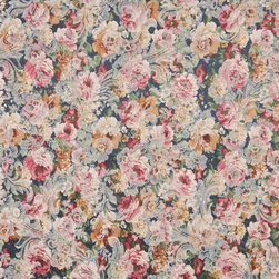 Blue, Pink And Green, Floral Garden Jacquard Woven Upholstery Fabric By The Yard - Botanical upholstery fabrics with the look of this one, add a unique appearance to any furniture. This material's colors look pastel, and blend perfectly together.
