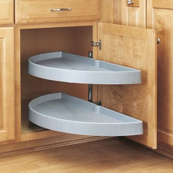 Rev-a-Shelf Half Moon 2 Shelf Pivot & Pull Lazy Susan - You'll never have to put up with uncomfortable reaching into inconvenient corner cabinets again once you install the Rev-A-Shelf Half-Moon 2-Shelf Pivot & Pull Lazy Susan. Each semicircular shelf independently swivels and pulls out into the open kitchen for the ultimate in convenience. The shelves tuck away and fill up all available space in that previously inaccessible blind corner cabinet.About Rev-A-ShelfRev-A-Shelf is a Jeffersontown Ky.-based company that has been dedicated to the creation of innovative useful residential cabinet storage and organization products since 1978. The company manufactures a wide variety of functional products such as lazy susans kitchen drawer organizers and childproof locking systems. A global market leader Rev-A-Shelf is known for its superior quality and versatility.