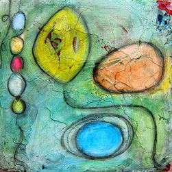 """""""""""Exit #2"""""""" (Original) By Annie Coe - Nature Is A Big Inspiration Here In Taos New Mexico, Stones, Boulders, Seed Pods All Inform My Work. In This Piece I Was Also Playing With Mediums And Having Lots Of Fun."""