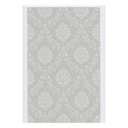 Graham and Brown - Costello Wallpaper Swatch - Gray/White - Costello is an in-register small scale damask wallpaper with a jacquard stitch effect into the Harvey plain background.